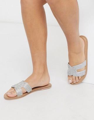 Accessorize Bella beaded flat sandals in silver