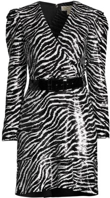 MICHAEL Michael Kors Zebra-Print Sequin Dress