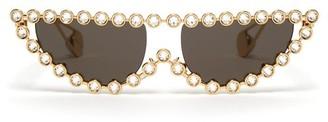 Gucci Crystal-embellished Cat-eye Metal Sunglasses - Grey Gold