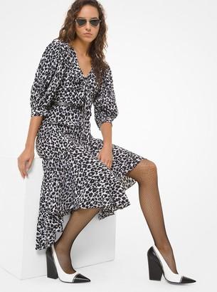 Michael Kors Leopard Silk Crepe De Chine Rumba Dress