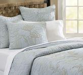 Botanical Embroidered Organic Quilt & Sham - Porcelain Blue