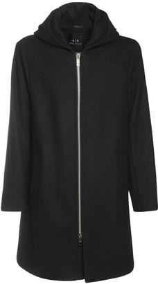 Armani Exchange Hooded Wool Blend Coat