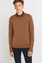 Fred Perry Classic Dark Caramel Crewneck Jumper