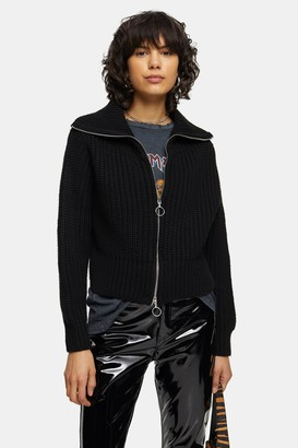 Topshop Womens Black Zip Through Jumper - Black