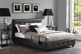 DHP Platform Bed, Dakota Faux Leather Tufted Upholstered Platform Bed - Includes Tufted Upholstered Headboard and Side Rails, Queen Platform Bed - Black