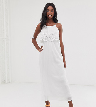 Brave Soul Tall broderie anglais maxi dress in white