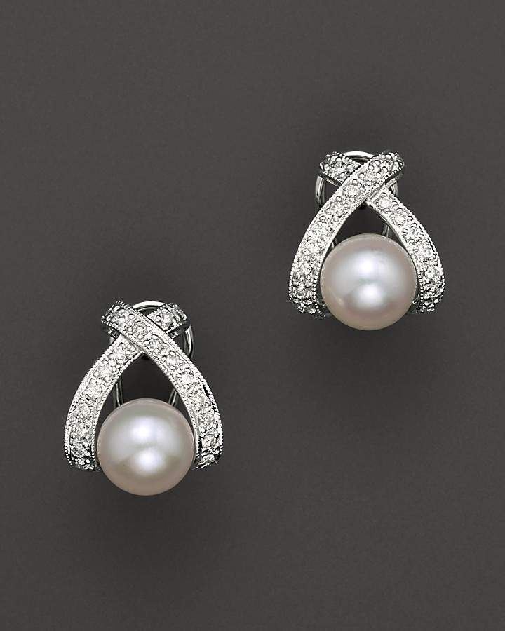 """Bloomingdale's Cultured Pearl """"X"""" Earrings with Diamonds, 7mm"""