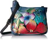Anuschka Anna Handpainted Leather Medium Cross Body-Midnight Floral