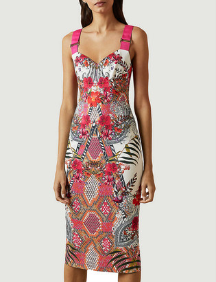 Ted Baker Samba Kloeey graphic-print bodycon stretch-woven midi dress