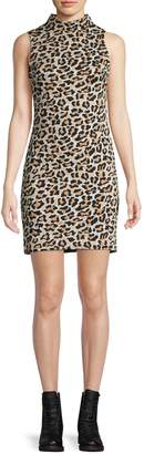 Design Lab Leopard-Print Mockneck Mini Dress