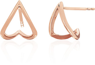 Ef Collection 14ct Rose Gold Chevron Huggie Earrings