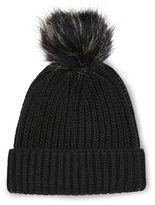 Faux fur pom-pom beanie hat