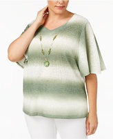 Alfred Dunner Plus Size Palm Desert Collection Biadere Ombré Striped Top