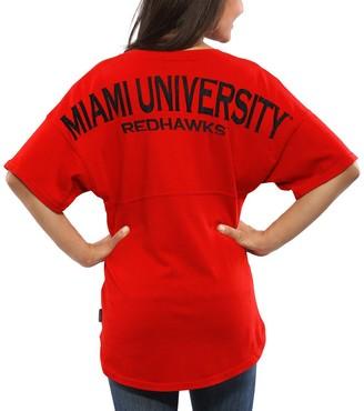 Unbranded Women's Red Miami University RedHawks Spirit Jersey Oversized T-Shirt