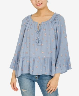 Hippie Rose Juniors' Ruffled Peplum Top