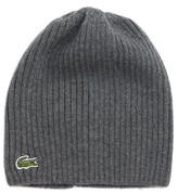 Lacoste Men's Rib Knit Wool Beanie - Grey