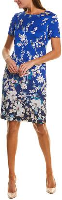 St. John Soft Blossom Silk-Blend Sheath Dress