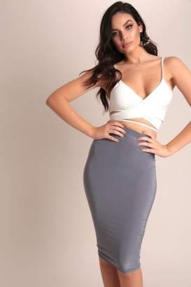 I SAW IT FIRST Slate Grey Basic Slinky Midi Skirt