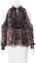 Parker Velvet Floral-Embroidered Top w/ Tags