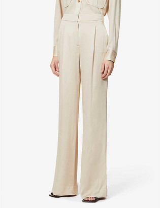 Veronica Beard Robinne wide-leg high-rise satin-crepe trousers
