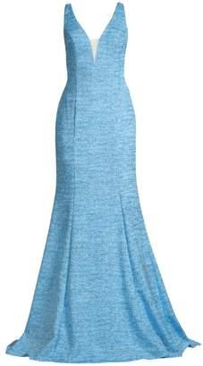 Jovani Glitter Side Cutout Mermaid Gown