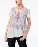 Style&Co. Style & Co Petite Graphic-Print Shirttail Top, Only at Macy's