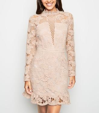 New Look AX Paris Light Crochet Open Back Dress