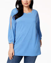 Belldini Plus Size Split-Sleeve Top
