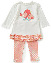 Starting Out Baby Girls 12-24 Months Bird-Appliqued Ruffle Top and Dotted Leggings Set