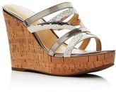 Ivanka Trump Howens Snake-Embossed Metallic Strappy Platform Wedge Sandals