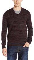 Perry Ellis Men's Solid Texture Stripe V-Neck Sweater