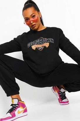 boohoo Plus Georgetown Varsity Slogan Sweatshirt