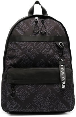 Versace Jeans Couture Logo Print Zip-Up Backpack