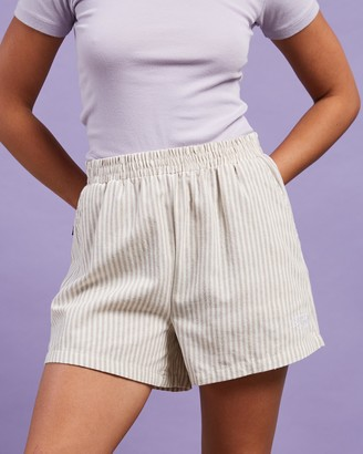 Stussy Women's Brown High-Waisted - Linen Shorts - Size 6 at The Iconic