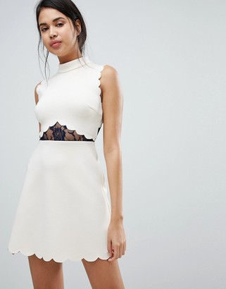 Asos Design ASOS Scallop & Lace A Line Mini Dress