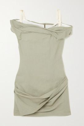 Jacquemus Foglio Off-the-shoulder Gathered Linen-blend Mini Dress - Sage green