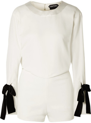Tom Ford Velvet Bow-embellished Draped Crepe Playsuit - White