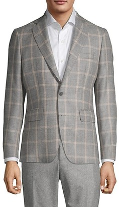 Components By Jm Windowpane Virgin Wool Silk Sportcoat