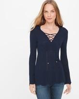 White House Black Market Petite Lace Up Sweater