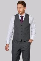 Moss Esq. Regular Fit Grey Textured Waistcoat