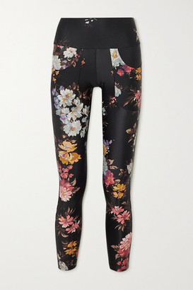 Twin Fantasy Paneled Floral-print Stretch Leggings - Black