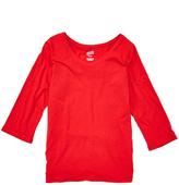 Soffe Red Three-Quarter Sleeve V-Neck Tee