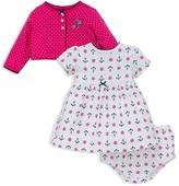 Little Me Infant Girls' Dot Cardigan, Anchor Print Dress & Bloomers Set - Sizes 3-12 Months