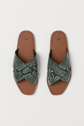H&M Leather Slides - Turquoise