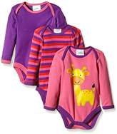 Twins Baby Girls Bodysuit, Longsleeve, 3-Pack, Multicoloured (Pink / Lila )