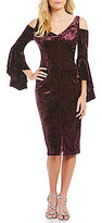 Maggy London Velvet Ruffle Cold Shoulder Sheath Dress