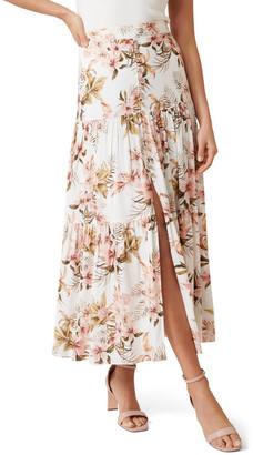 Forever New Raina Linen Blend Tiered Maxi Skirt