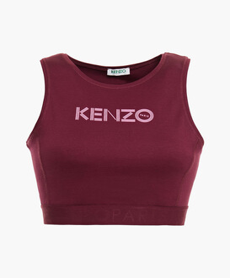 Kenzo Cropped Logo-print Cotton-blend Jersey Top