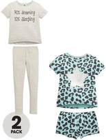 Very Girls Slogan and Leopard Print Pyjamas (2 Pack)