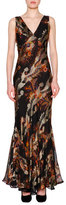 Etro Sleeveless V-Neck Floral-Print Gown, Black/Multi